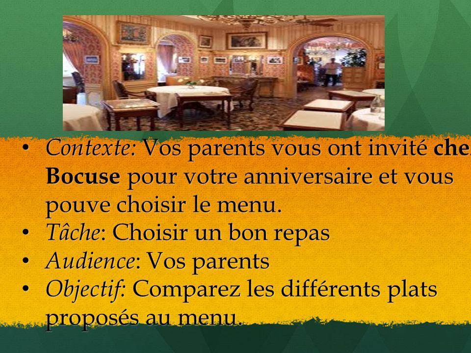 Contexte: Vos parents vous ont invité chez Bocuse pour votre anniversaire et vous pouve choisir le menu.