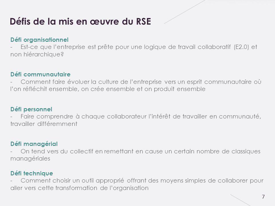 8 -20% outil -80% : Relation humaine + Management Organisationnel + Accompagnement -Interface simplifiée et intuitive pour une meilleure compréhension -Retrouver les logiques de partage et déchange des médias sociaux classiques Réussir son projet RSE