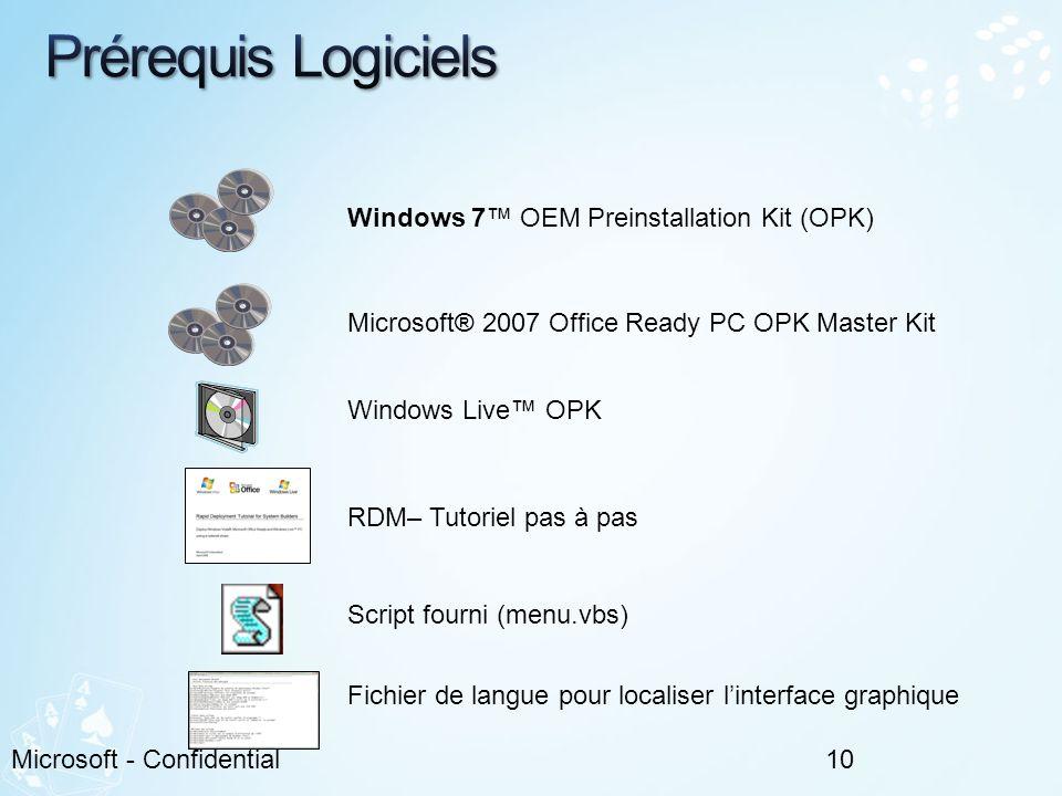 10Microsoft - Confidential Windows 7 OEM Preinstallation Kit (OPK) Microsoft® 2007 Office Ready PC OPK Master Kit RDM– Tutoriel pas à pas Windows Live