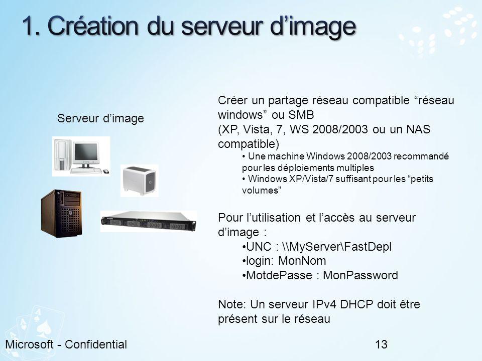 13Microsoft - Confidential Serveur dimage Créer un partage réseau compatible réseau windows ou SMB (XP, Vista, 7, WS 2008/2003 ou un NAS compatible) U