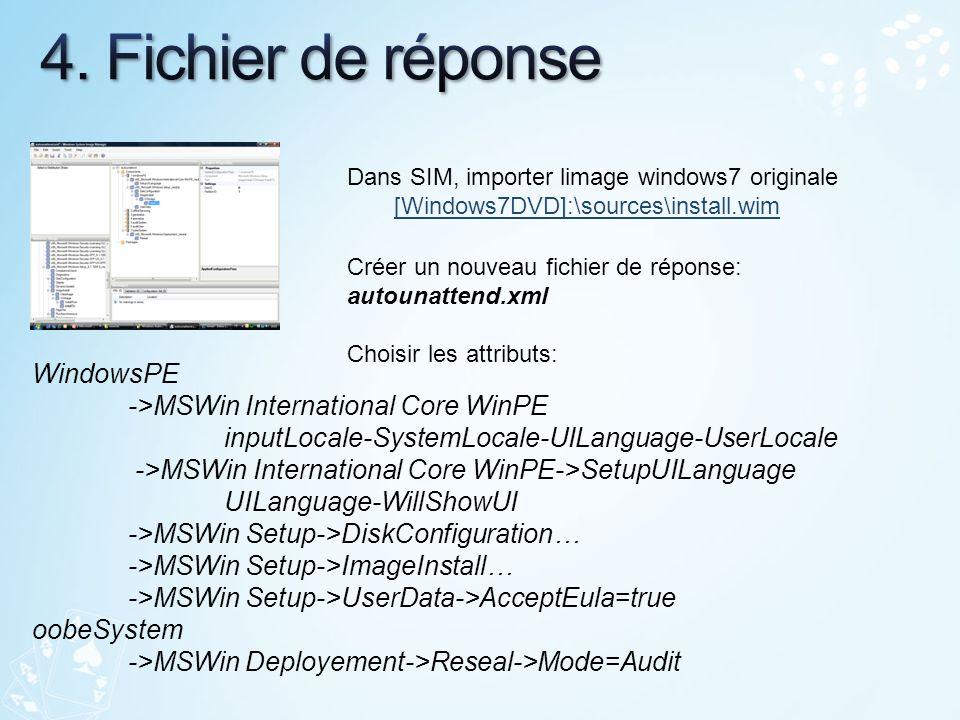Dans SIM, importer limage windows7 originale [Windows7DVD]:\sources\install.wim[Windows7DVD]:\sources\install.wim Créer un nouveau fichier de réponse: