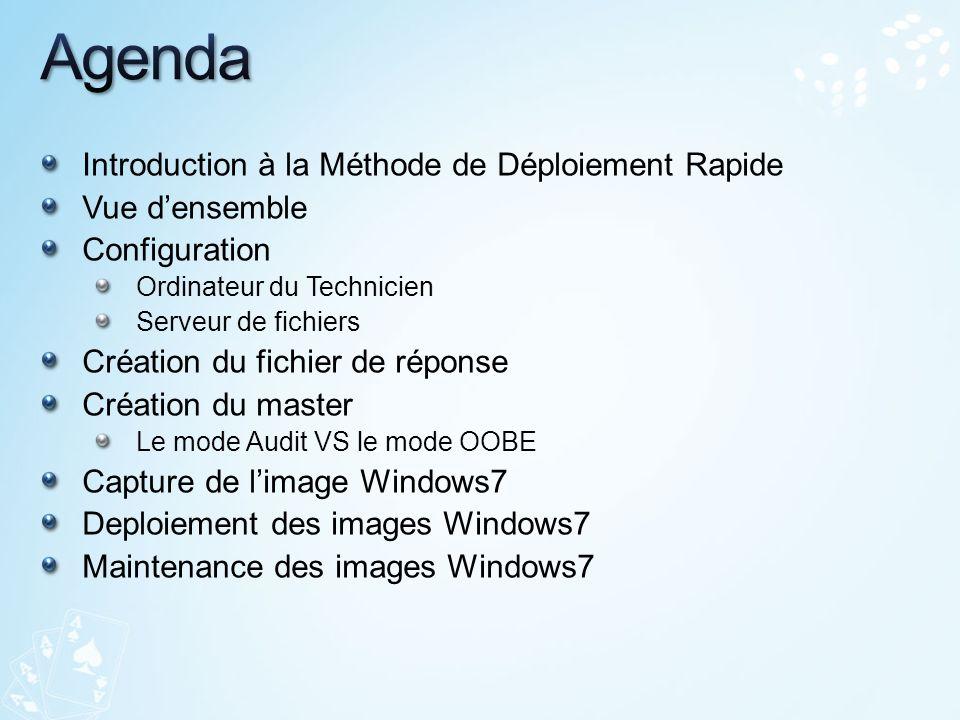 Introduction à la Méthode de Déploiement Rapide Vue densemble Configuration Ordinateur du Technicien Serveur de fichiers Création du fichier de répons