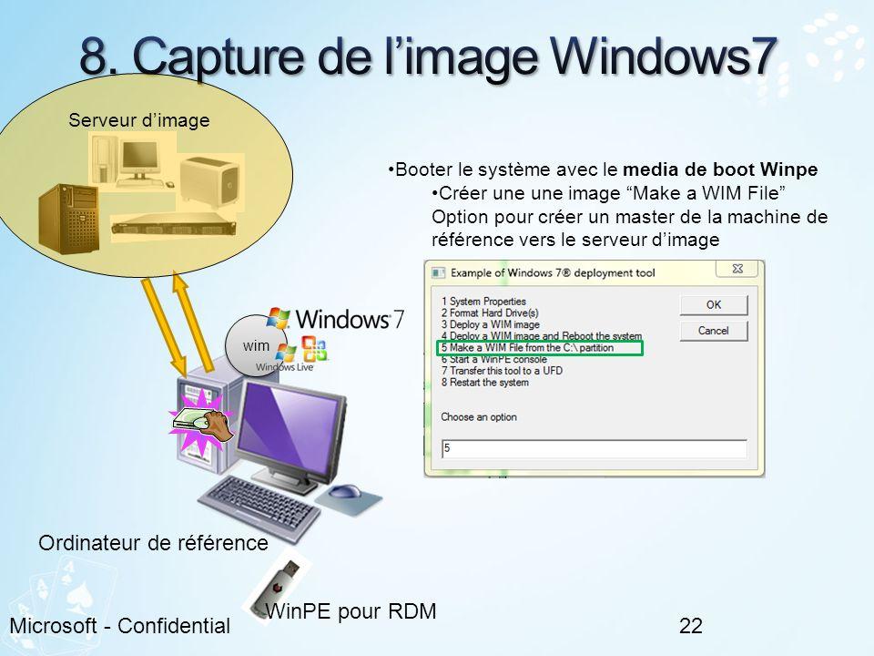 22Microsoft - Confidential Booter le système avec le media de boot Winpe Créer une une image Make a WIM File Option pour créer un master de la machine