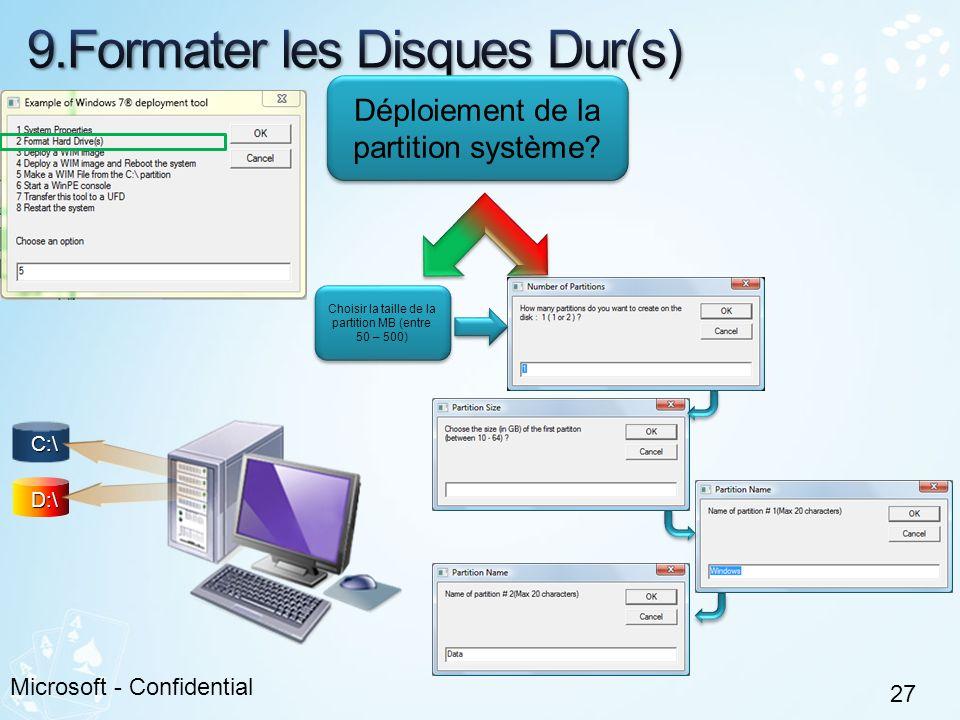 27 Microsoft - Confidential C:\ D:\ Déploiement de la partition système? Choisir la taille de la partition MB (entre 50 – 500)