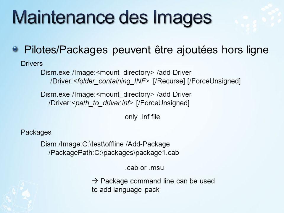 Pilotes/Packages peuvent être ajoutées hors ligne Dism.exe /Image: /add-Driver /Driver: [/Recurse] [/ForceUnsigned] Dism.exe /Image: /add-Driver /Driv