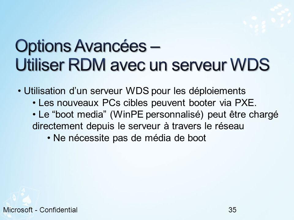 35Microsoft - Confidential Utilisation dun serveur WDS pour les déploiements Les nouveaux PCs cibles peuvent booter via PXE. Le boot media (WinPE pers
