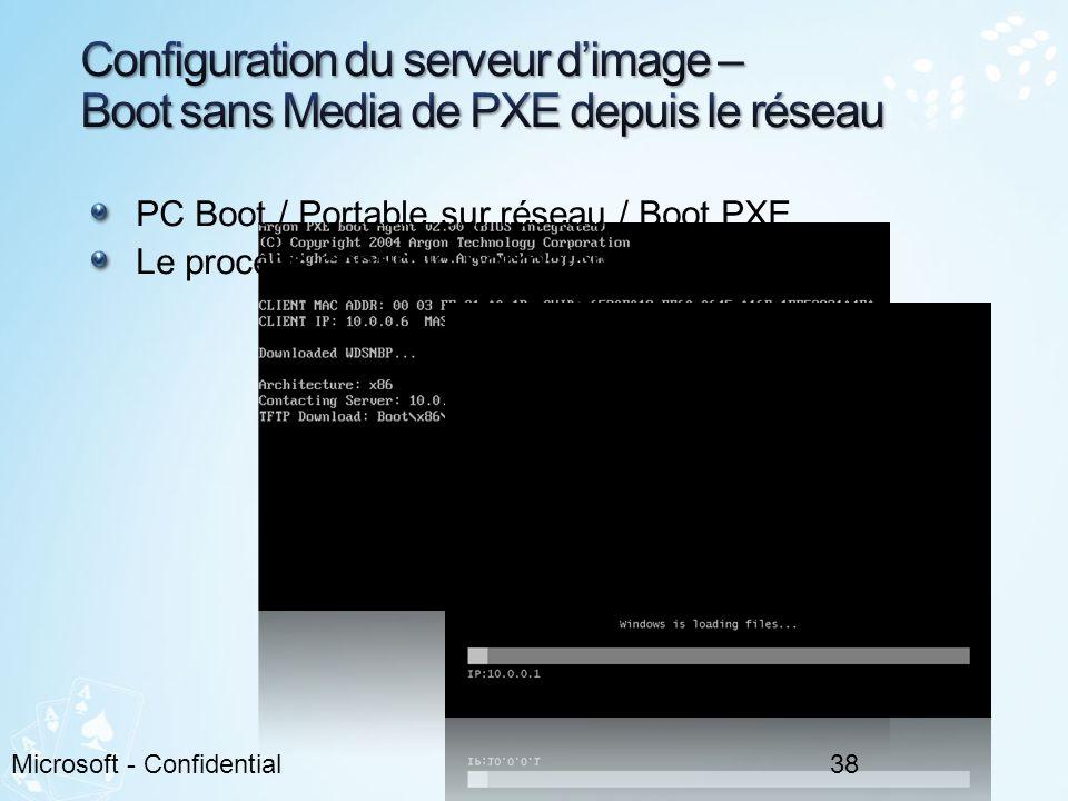PC Boot / Portable sur réseau / Boot PXE Le process continue normalement 38Microsoft - Confidential