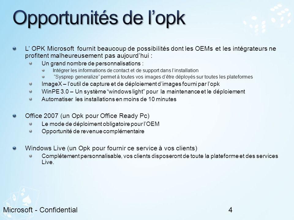L OPK Microsoft fournit beaucoup de possibilités dont les OEMs et les intégrateurs ne profitent malheureusement pas aujourdhui : Un grand nombre de pe