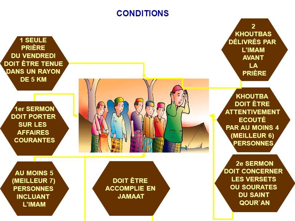 CONDITIONS AU MOINS 5 (MEILLEUR 7) PERSONNES INCLUANT LIMAM DOIT ÊTRE ACCOMPLIE EN JAMAAT 1 SEULE PRIÈRE DU VENDREDI DOIT ÊTRE TENUE DANS UN RAYON DE 5 KM 2e SERMON DOIT CONCERNER LES VERSETS OU SOURATES DU SAINT QOUR`AN KHOUTBA DOIT ÊTRE ATTENTIVEMENT ECOUTÉ PAR AU MOINS 4 (MEILLEUR 6) PERSONNES 2 KHOUTBAS DÉLIVRÉS PAR LIMAM AVANT LA PRIÈRE 1er SERMON DOIT PORTER SUR LES AFFAIRES COURANTES