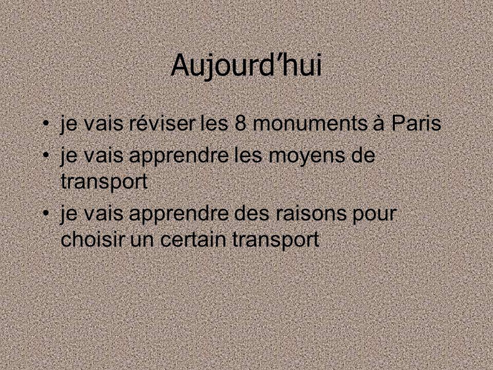 Aujourdhui je vais réviser les 8 monuments à Paris je vais apprendre les moyens de transport je vais apprendre des raisons pour choisir un certain tra
