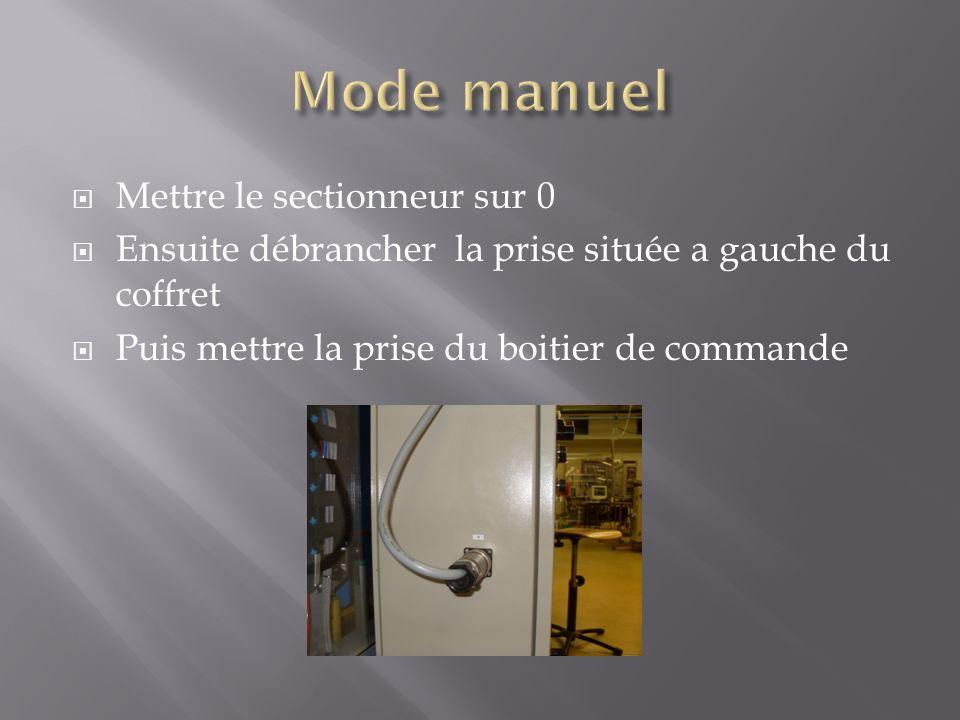 Mettre le sectionneur sur 0 Ensuite débrancher la prise située a gauche du coffret Puis mettre la prise du boitier de commande