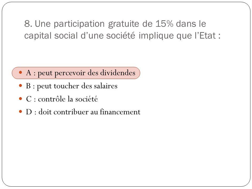 8. Une participation gratuite de 15% dans le capital social dune société implique que lEtat : A : peut percevoir des dividendes B : peut toucher des s