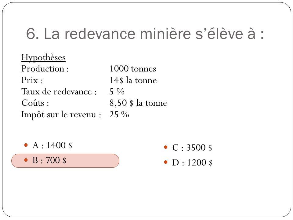 6. La redevance minière sélève à : Hypothèses Production :1000 tonnes Prix :14$ la tonne Taux de redevance :5 % Coûts :8,50 $ la tonne Impôt sur le re
