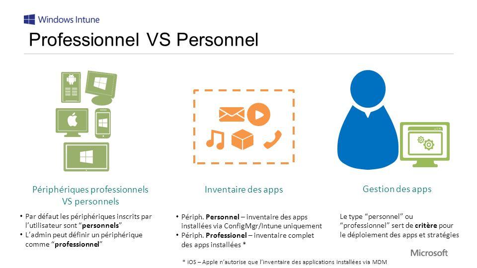 Le type personnel ou professionnel sert de critère pour le déploiement des apps et stratégies Gestion des apps Périph.