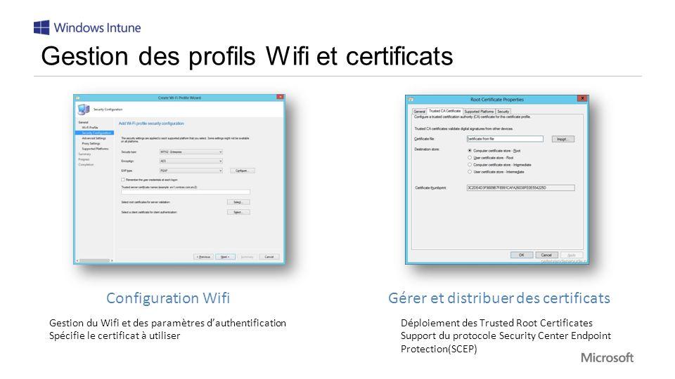 Configuration Wifi Gestion du Wifi et des paramètres dauthentification Spécifie le certificat à utiliser Gérer et distribuer des certificats Déploiement des Trusted Root Certificates Support du protocole Security Center Endpoint Protection(SCEP)