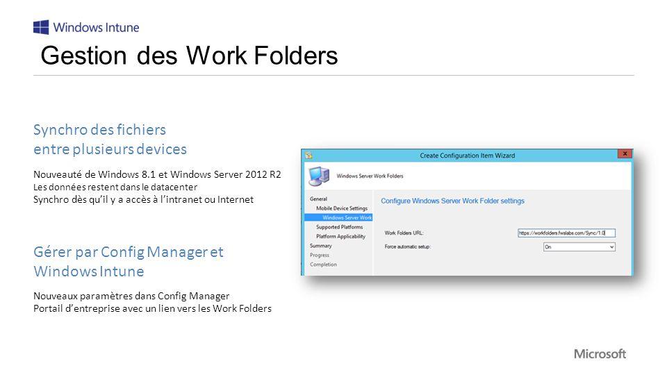 Synchro des fichiers entre plusieurs devices Nouveauté de Windows 8.1 et Windows Server 2012 R2 Les données restent dans le datacenter Synchro dès quil y a accès à lintranet ou Internet Gérer par Config Manager et Windows Intune Nouveaux paramètres dans Config Manager Portail dentreprise avec un lien vers les Work Folders