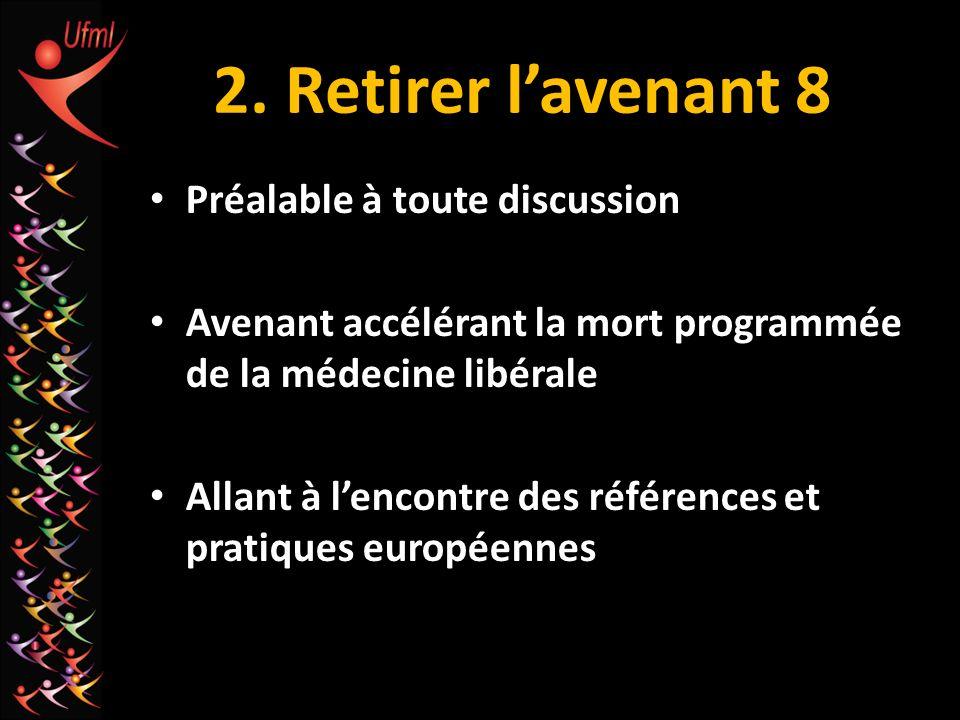 2. Retirer lavenant 8 Préalable à toute discussion Avenant accélérant la mort programmée de la médecine libérale Allant à lencontre des références et