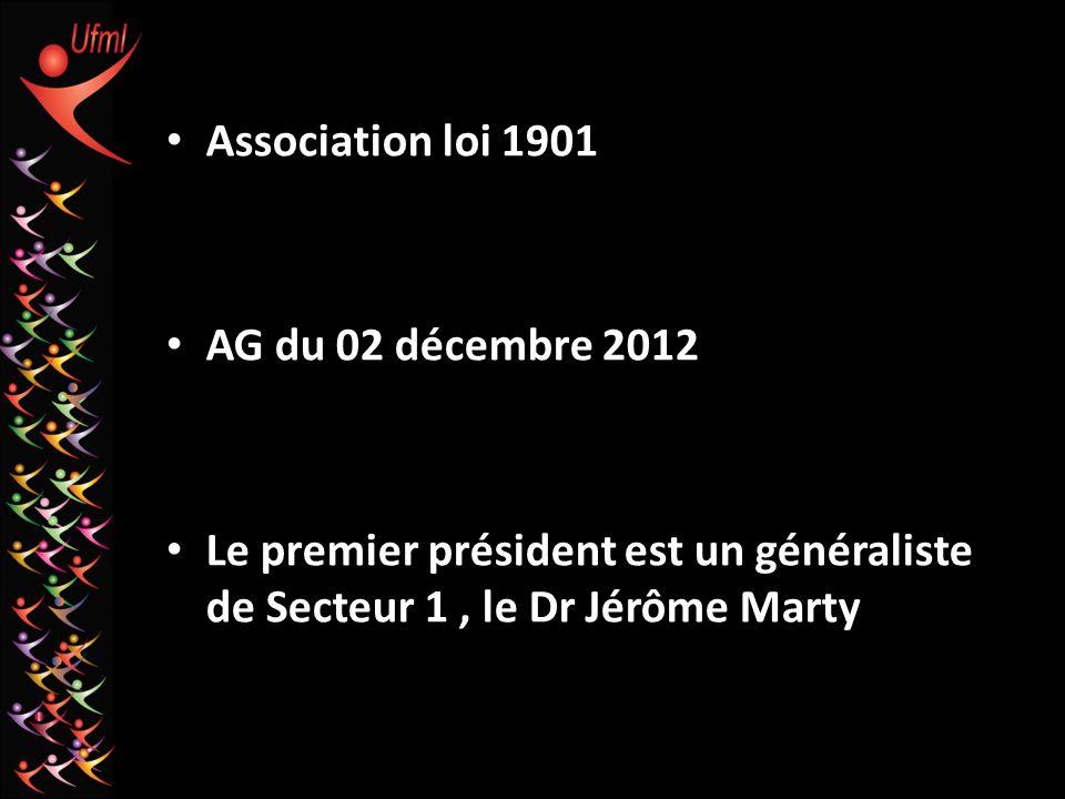 Association loi 1901 AG du 02 décembre 2012 Le premier président est un généraliste de Secteur 1, le Dr Jérôme Marty