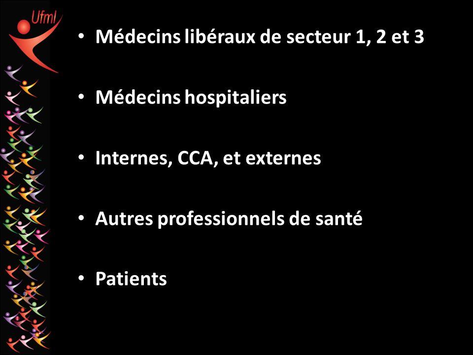 Médecins libéraux de secteur 1, 2 et 3 Médecins hospitaliers Internes, CCA, et externes Autres professionnels de santé Patients