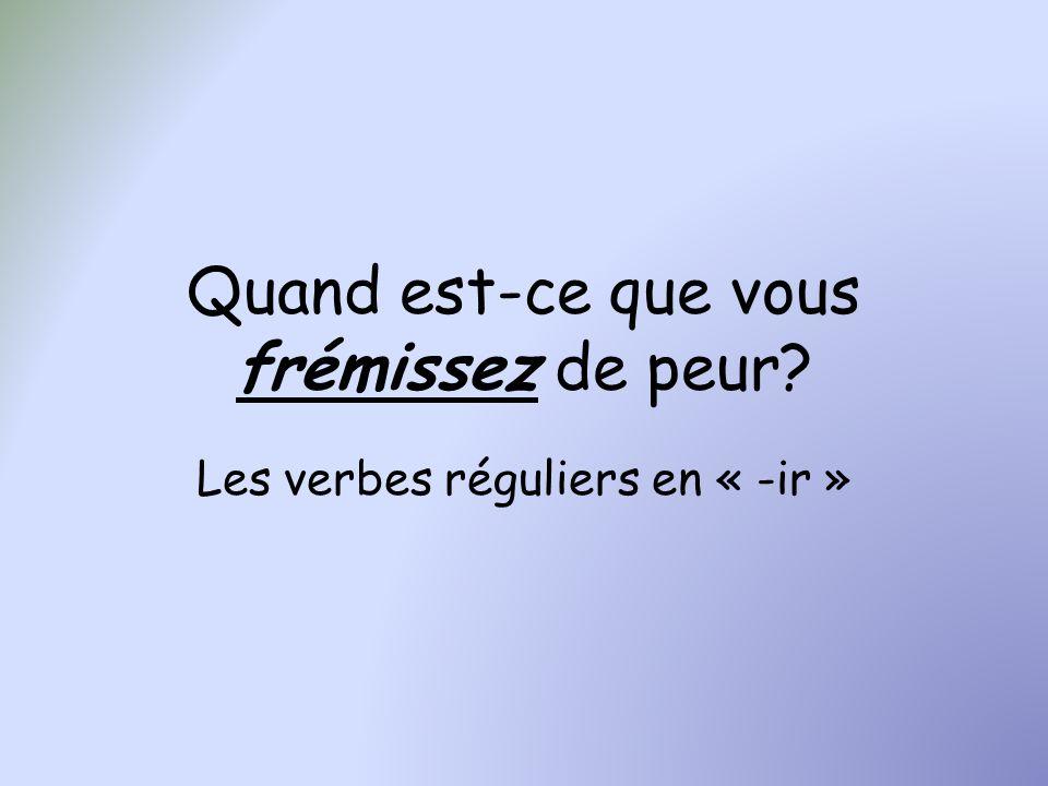 « Je pense à ses mots, et je frémis de peur » [penser à quelque chose = to think of/about] lexamen de français – Je pense à lexamen de français, et je frémis de peur les verbes – Je pense aux verbes, et je frémis de peur le poème dApollinaire – Je pense au poème dApollinaire, et je frémis de peur
