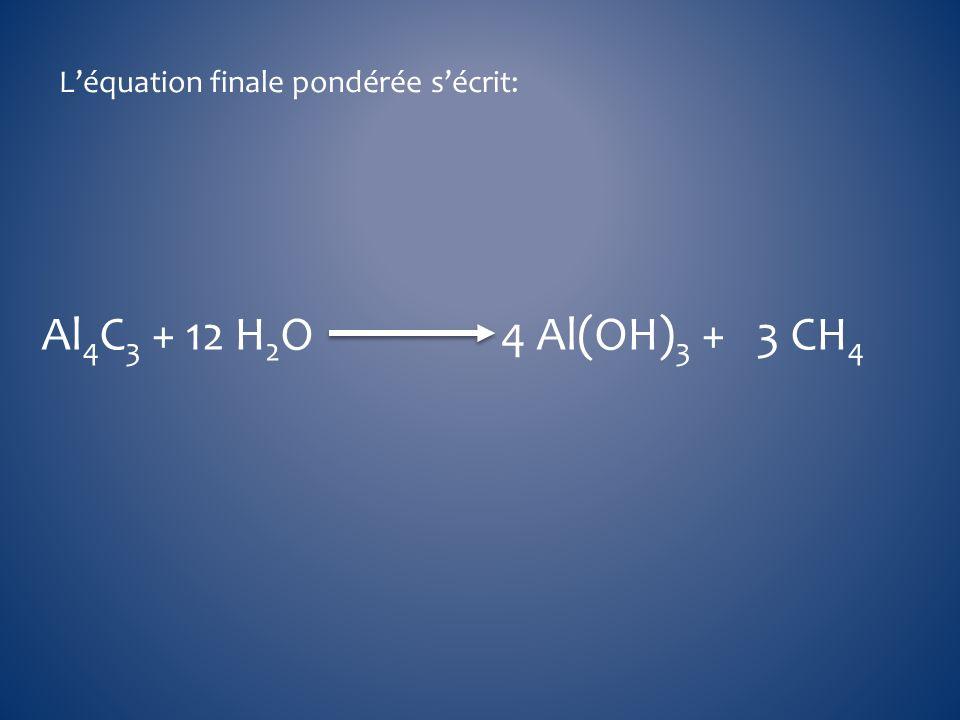 Léquation finale pondérée sécrit: Al 4 C 3 + 12 H 2 O 4 Al(OH) 3 + 3 CH 4