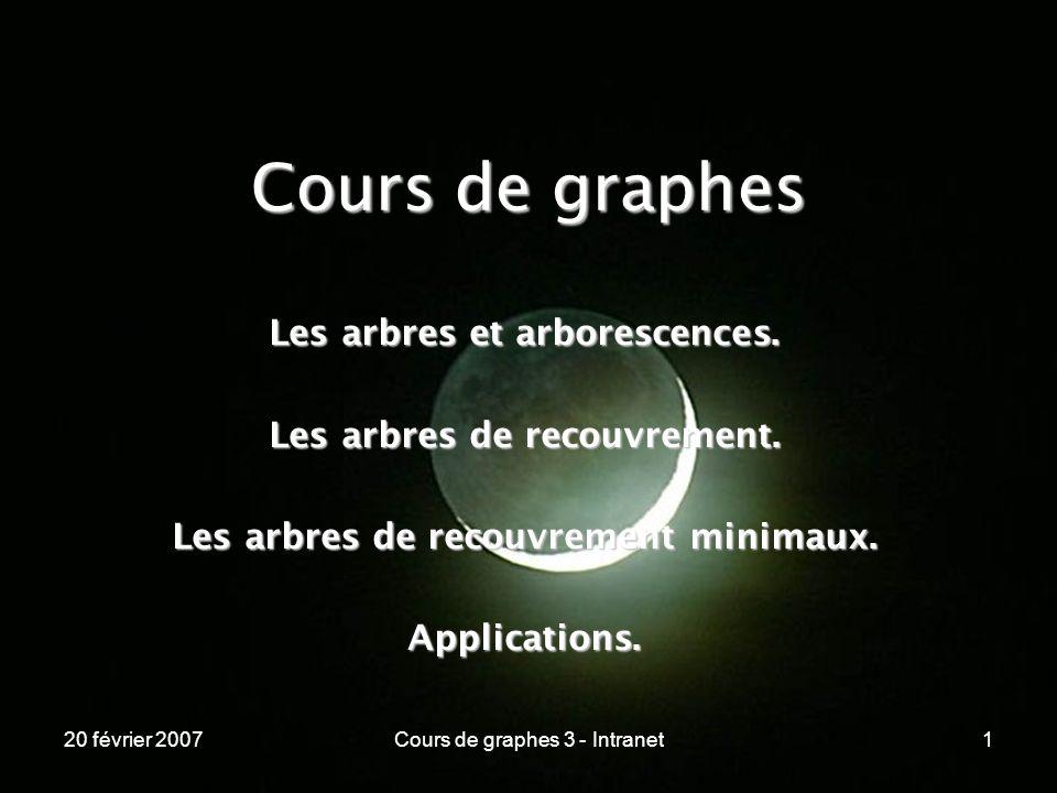 20 février 2007Cours de graphes 3 - Intranet1 Cours de graphes Les arbres et arborescences. Les arbres de recouvrement. Les arbres de recouvrement min