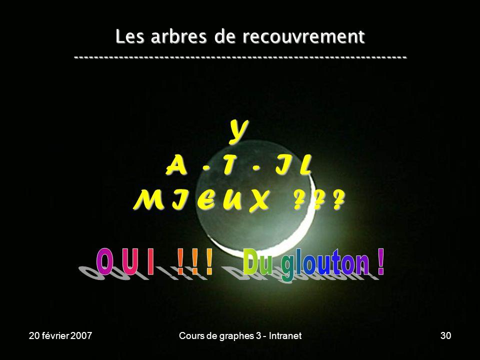 20 février 2007Cours de graphes 3 - Intranet30 Y A - T - I L M I E U X ? ? ? Les arbres de recouvrement ----------------------------------------------