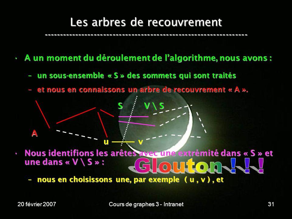 20 février 2007Cours de graphes 3 - Intranet31 Les arbres de recouvrement ----------------------------------------------------------------- A un momen