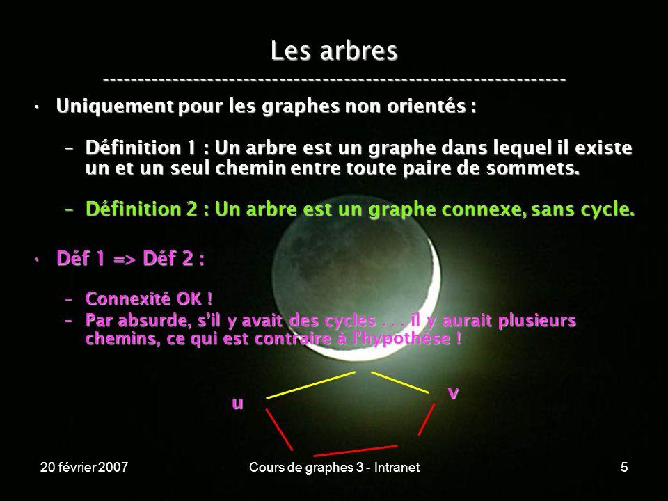20 février 2007Cours de graphes 3 - Intranet5 Les arbres ----------------------------------------------------------------- Uniquement pour les graphes