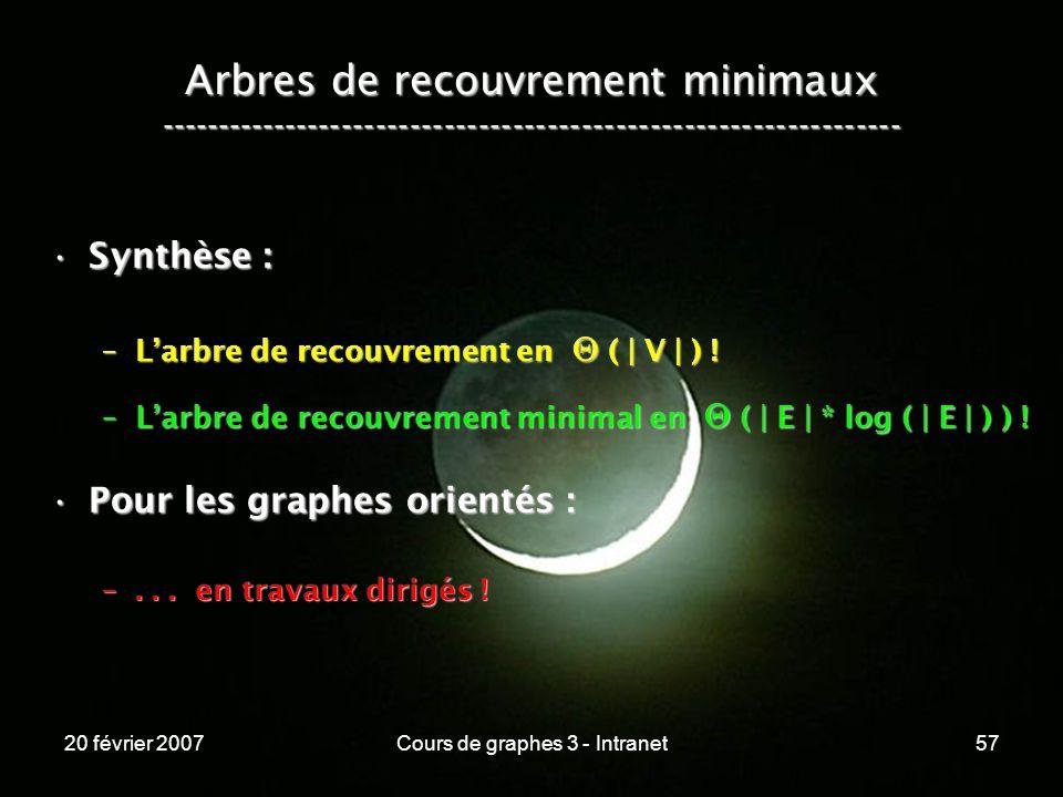 20 février 2007Cours de graphes 3 - Intranet57 Arbres de recouvrement minimaux ----------------------------------------------------------------- Synth