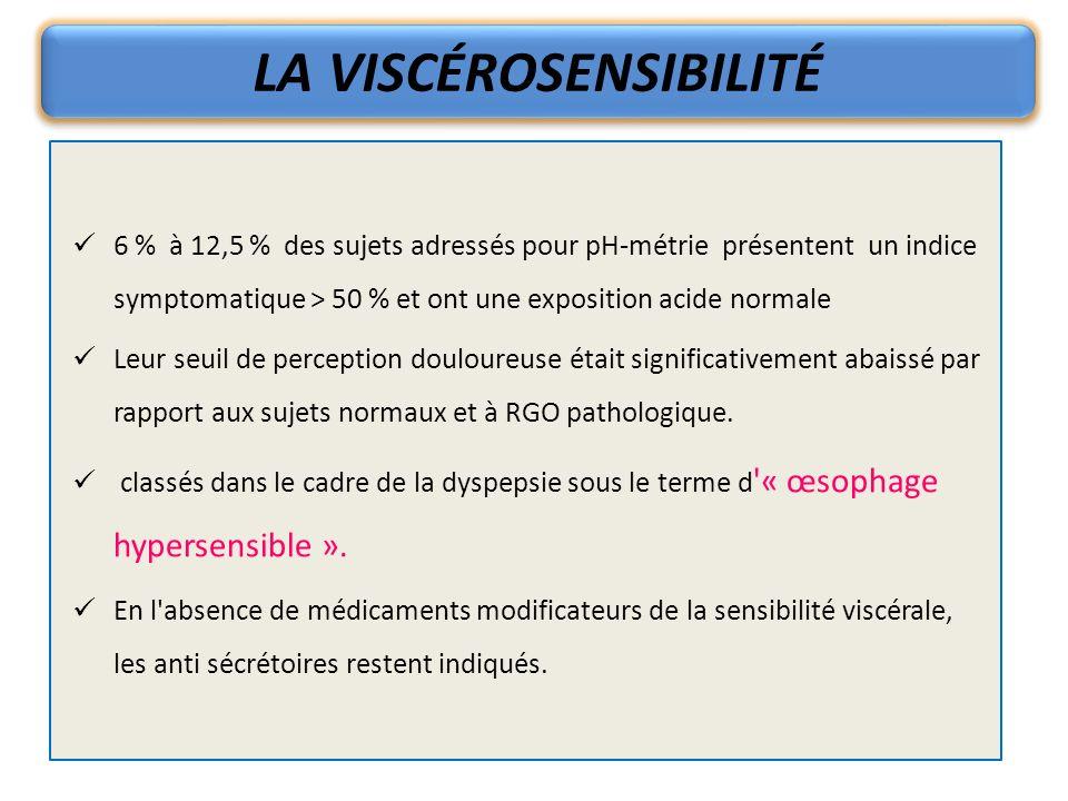 LA VISCÉROSENSIBILITÉ 6 % à 12,5 % des sujets adressés pour pH-métrie présentent un indice symptomatique > 50 % et ont une exposition acide normale Le