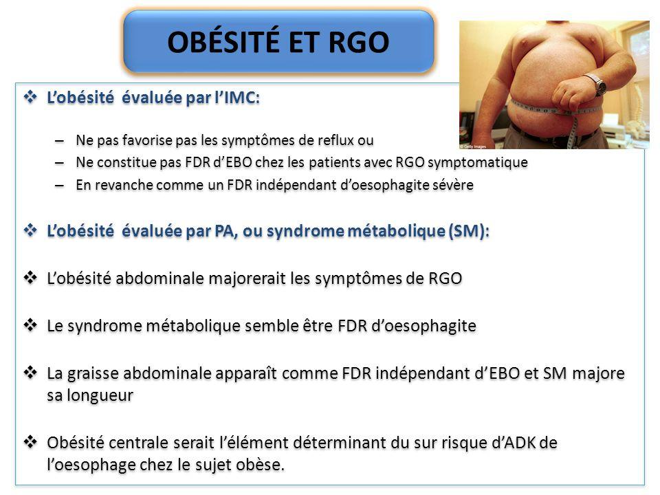 OBÉSITÉ ET RGO Lobésité évaluée par lIMC: – Ne pas favorise pas les symptômes de reflux ou – Ne constitue pas FDR dEBO chez les patients avec RGO symp