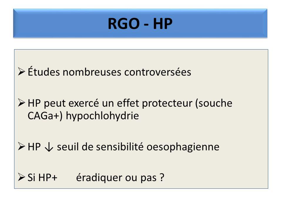 RGO - HP Études nombreuses controversées HP peut exercé un effet protecteur (souche CAGa+) hypochlohydrie HP seuil de sensibilité oesophagienne Si HP+