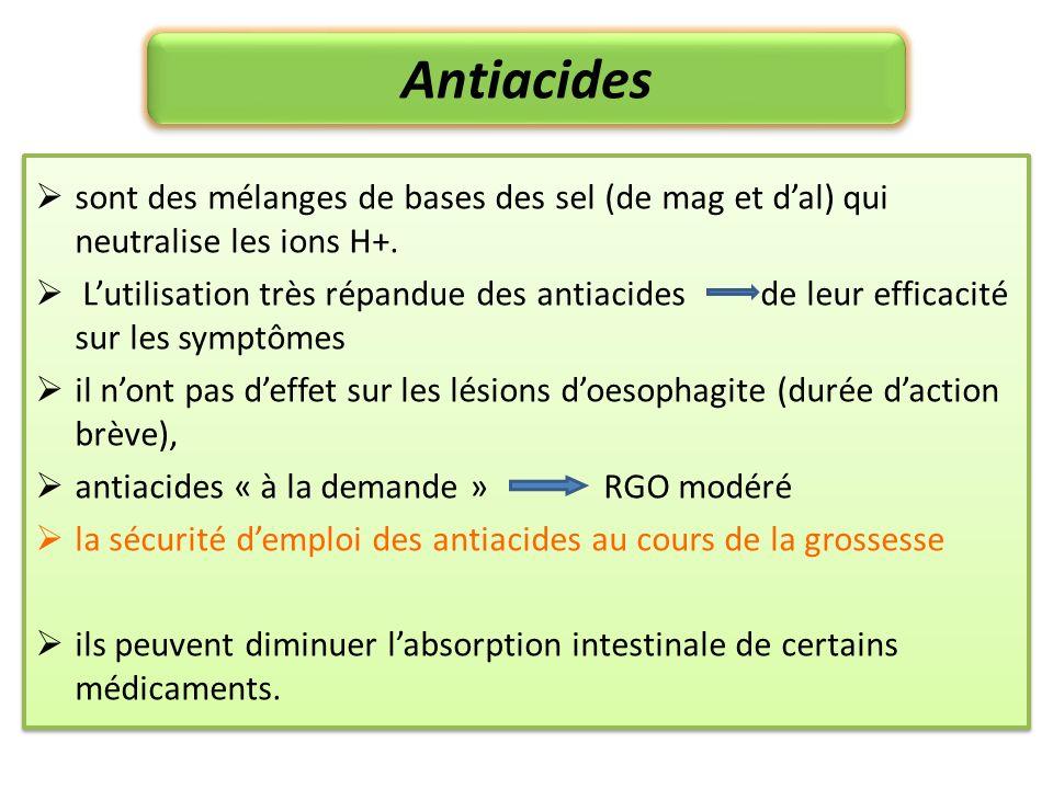 Antiacides sont des mélanges de bases des sel (de mag et dal) qui neutralise les ions H+. Lutilisation très répandue des antiacides de leur efficacité