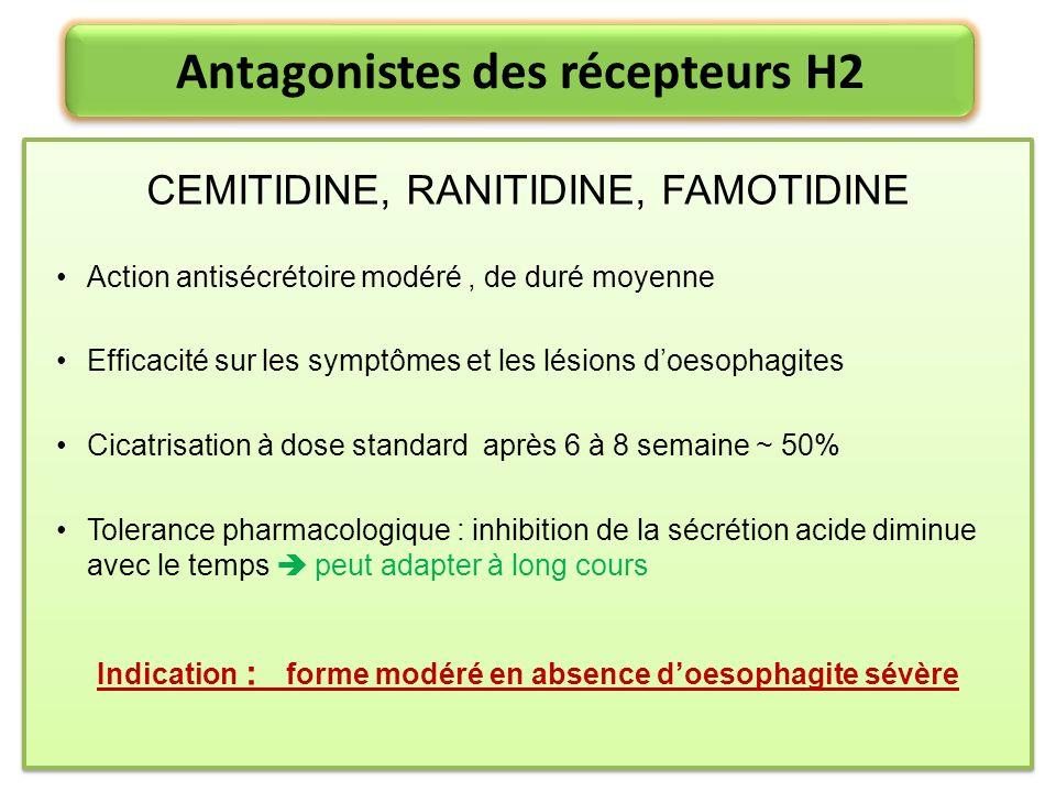 Antagonistes des récepteurs H2 CEMITIDINE, RANITIDINE, FAMOTIDINE Action antisécrétoire modéré, de duré moyenne Efficacité sur les symptômes et les lé