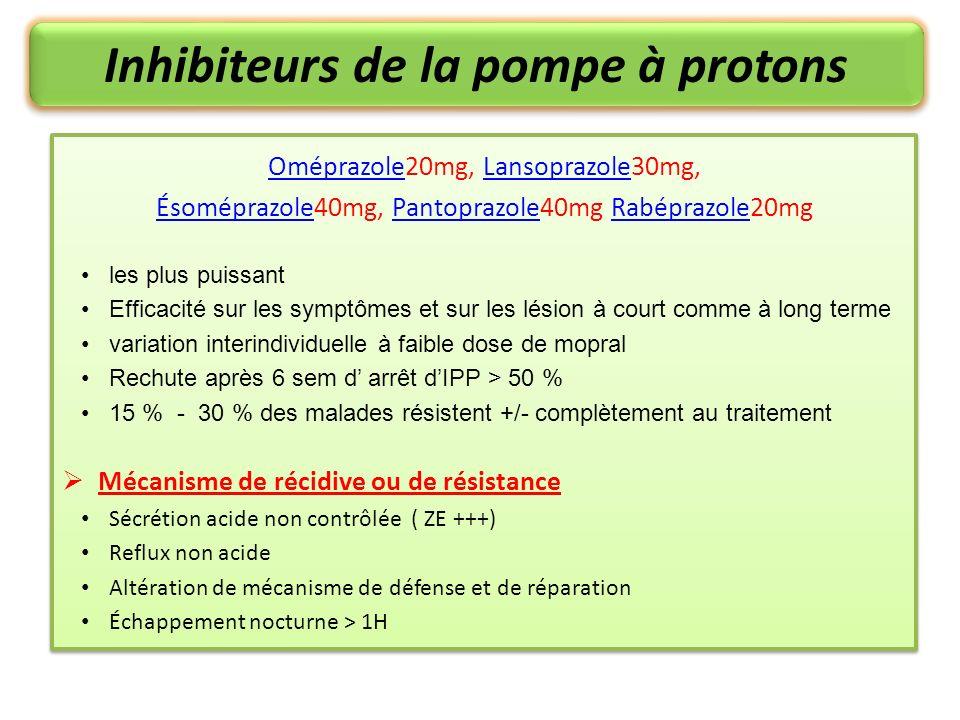 Inhibiteurs de la pompe à protons OméprazoleOméprazole20mg, Lansoprazole30mg,Lansoprazole ÉsoméprazoleÉsoméprazole40mg, Pantoprazole40mg Rabéprazole20