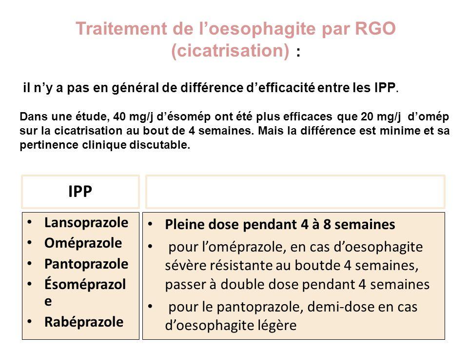IPP Lansoprazole Oméprazole Pantoprazole Ésoméprazol e Rabéprazole Pleine dose pendant 4 à 8 semaines pour loméprazole, en cas doesophagite sévère rés