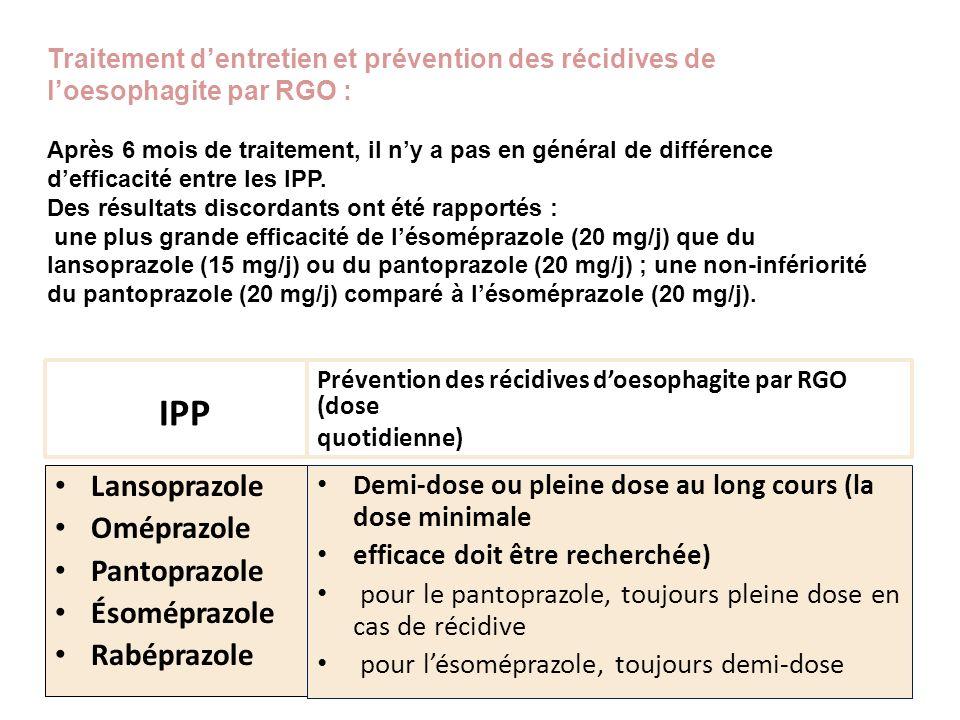 IPP Lansoprazole Oméprazole Pantoprazole Ésoméprazole Rabéprazole Prévention des récidives doesophagite par RGO (dose quotidienne) Demi-dose ou pleine