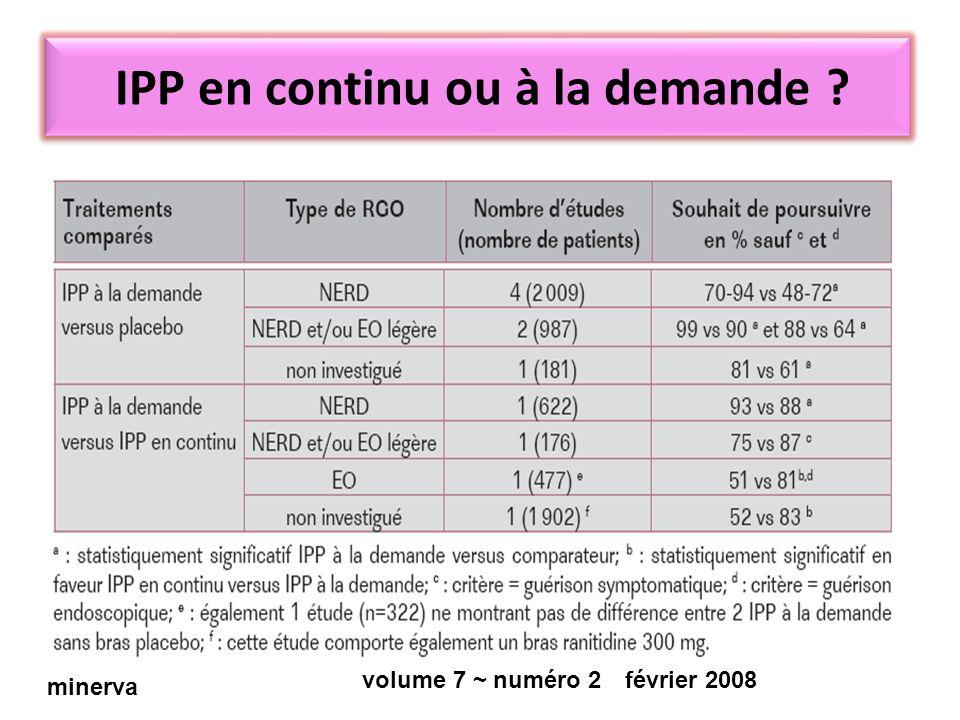 IPP en continu ou à la demande ? minerva février 2008volume 7 ~ numéro 2