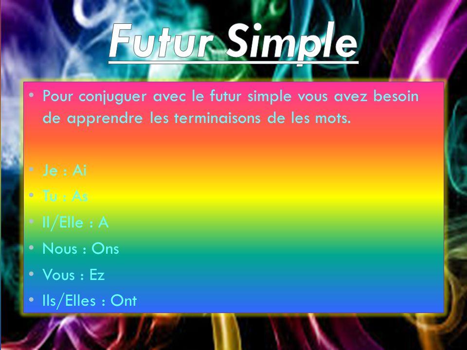 Pour conjuguer avec le futur simple vous avez besoin de apprendre les terminaisons de les mots. Je : Ai Tu : As Il/Elle : A Nous : Ons Vous : Ez Ils/E
