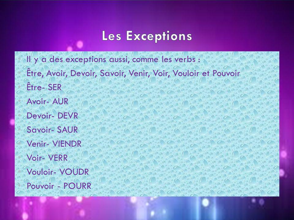 Il y a des exceptions aussi, comme les verbs : Être, Avoir, Devoir, Savoir, Venir, Voir, Vouloir et Pouvoir Être- SER Avoir- AUR Devoir- DEVR Savoir-
