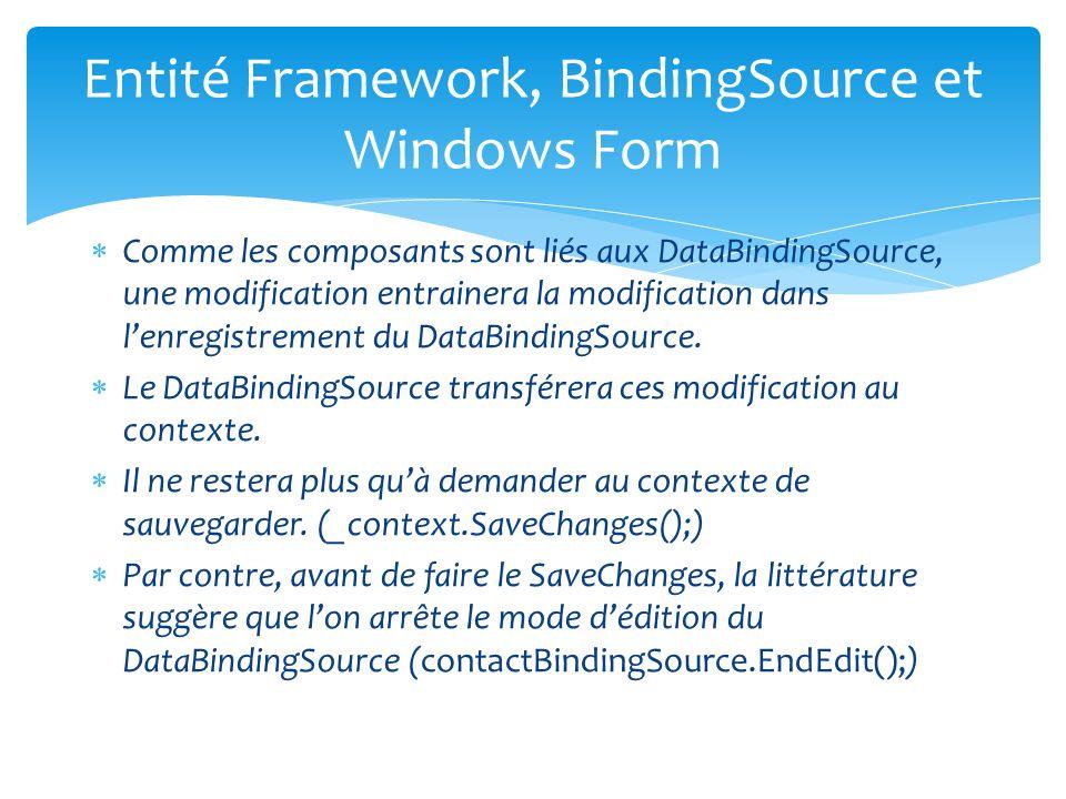 Comme les composants sont liés aux DataBindingSource, une modification entrainera la modification dans lenregistrement du DataBindingSource.