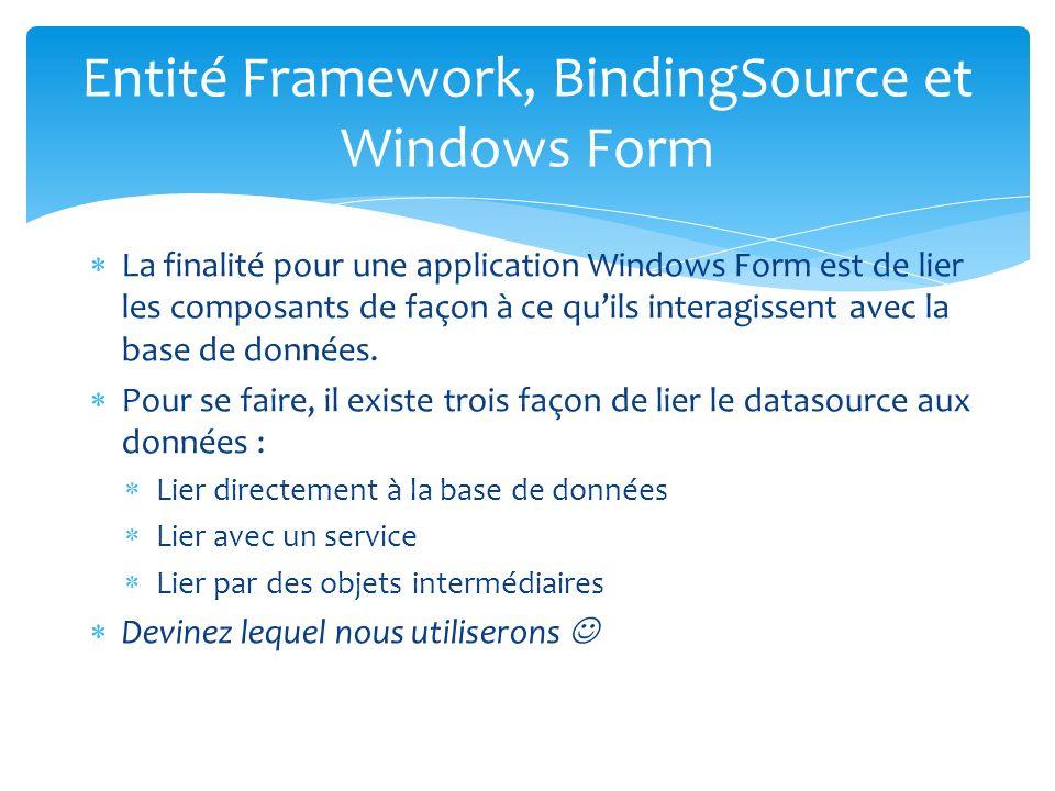 La finalité pour une application Windows Form est de lier les composants de façon à ce quils interagissent avec la base de données.
