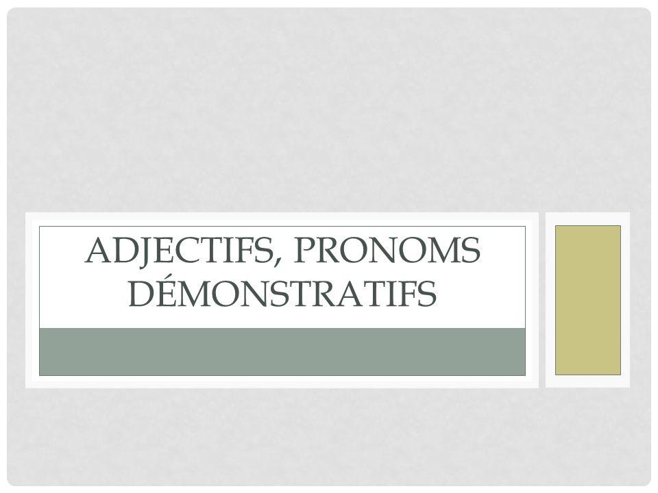 ADJECTIFS, PRONOMS DÉMONSTRATIFS
