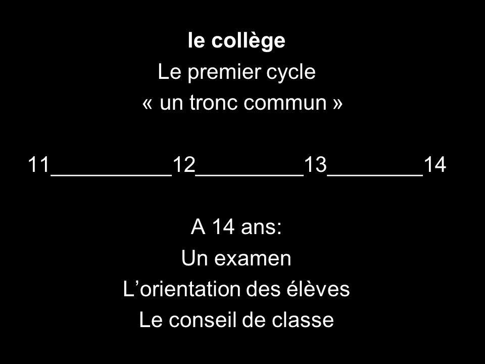 le collège Le premier cycle « un tronc commun » 11__________12_________13________14 A 14 ans: Un examen Lorientation des élèves Le conseil de classe