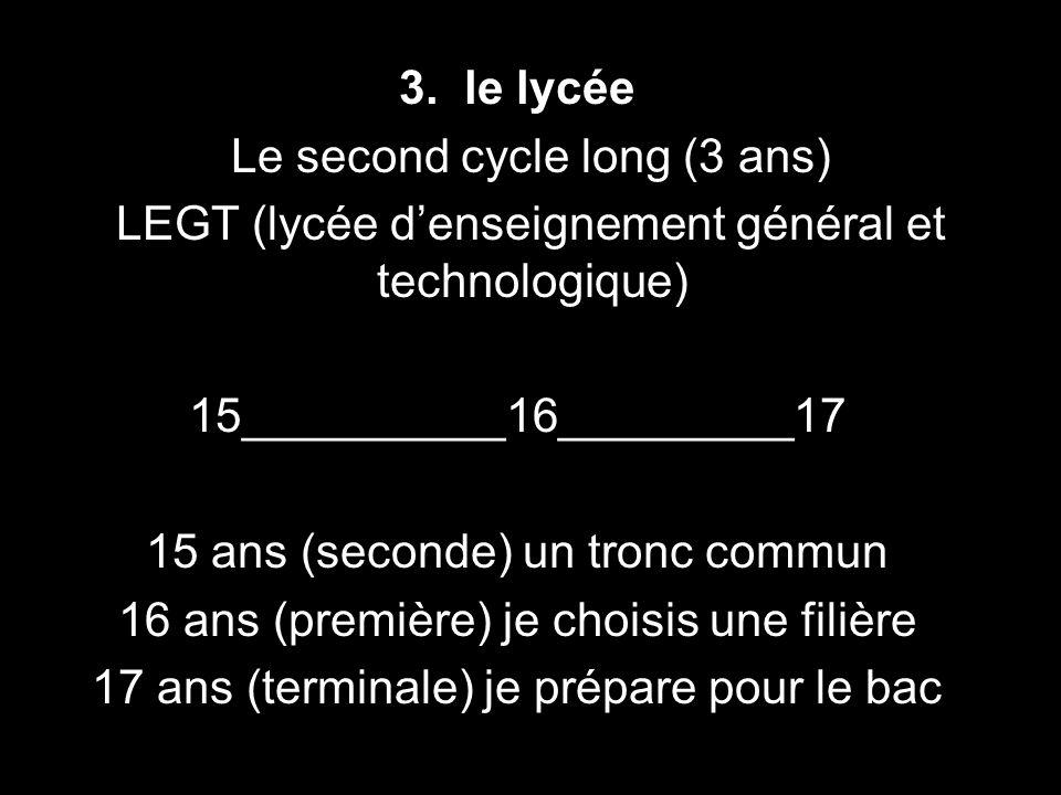 3. le lycée Le second cycle long (3 ans) LEGT (lycée denseignement général et technologique) 15__________16_________17 15 ans (seconde) un tronc commu