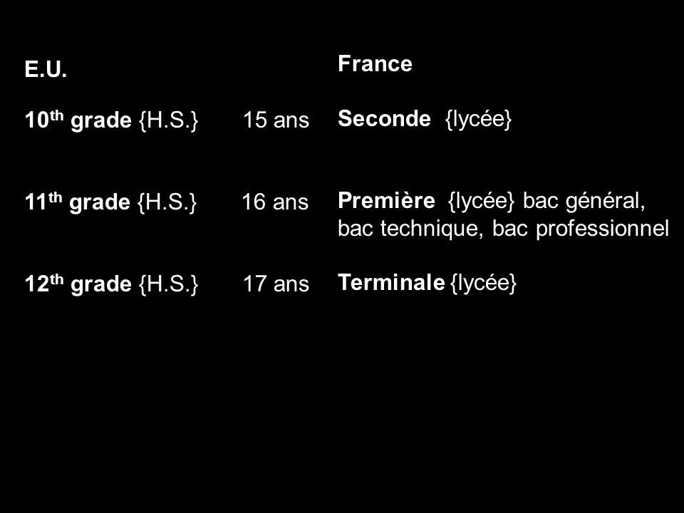 E.U. 10 th grade {H.S.} 15 ans 11 th grade {H.S.} 16 ans 12 th grade {H.S.} 17 ans France Seconde {lycée} Première {lycée} bac général, bac technique,