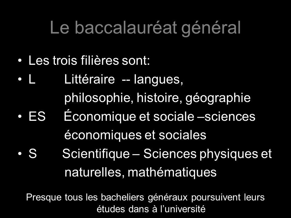Le baccalauréat général Les trois filières sont: L Littéraire -- langues, philosophie, histoire, géographie ES Économique et sociale –sciences économi