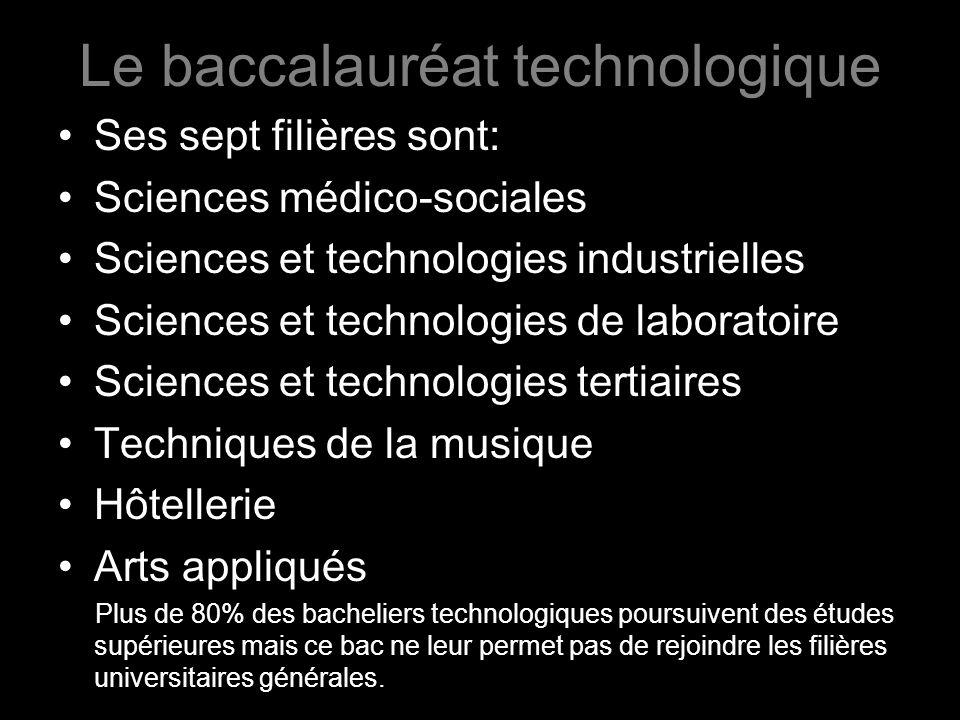 Le baccalauréat technologique Ses sept filières sont: Sciences médico-sociales Sciences et technologies industrielles Sciences et technologies de labo