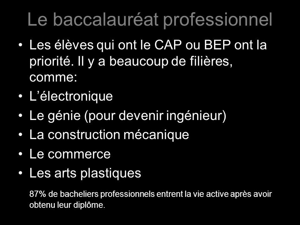 Le baccalauréat professionnel Les élèves qui ont le CAP ou BEP ont la priorité. Il y a beaucoup de filières, comme: Lélectronique Le génie (pour deven